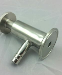 "TriClamp 1 1/2"" x 3/8"" Barb Sampler Valve Stainless Steel SS304-0"